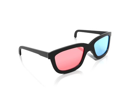 3d glasses. Red and blue spectacles for movie theater. 3d rendering illustration isolated on white background