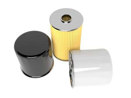Oil filters. Car spare parts. 3d rendering illustration isolated on white background
