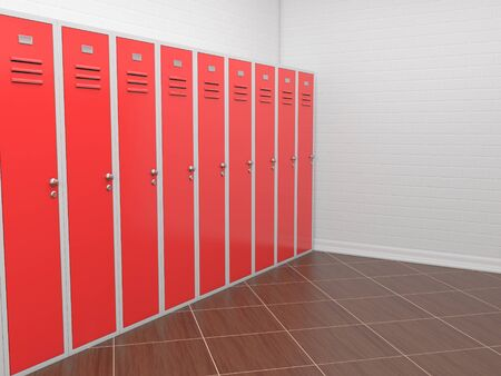 Red lockers in in the empty room. 3d rendering illustration Zdjęcie Seryjne
