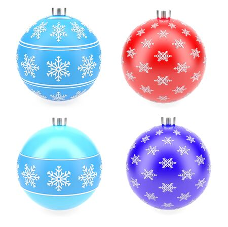 Christmas decoration balls. 3d rendering illustration isolated on white background