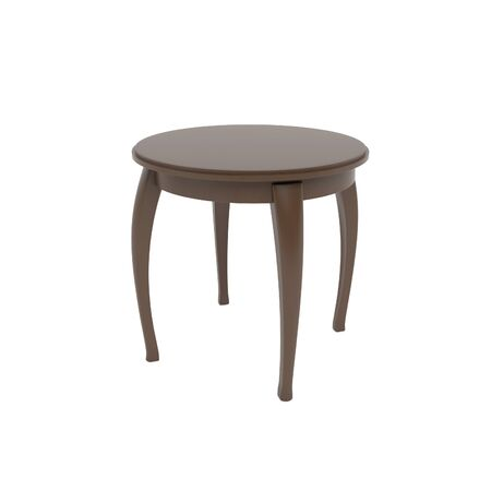 Wooden brown round table. 3d rendering illustration isolated on white background Foto de archivo