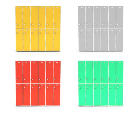 Lockers with closed doors. Two row section of colored lockers for schoool or gym. 3d rendering illustration isolated on white background Foto de archivo - 150233117