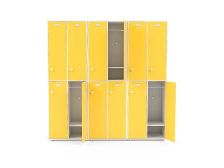 Yellow lockers. Two row section of lockers for schoool or gym. 3d rendering illustration isolated on white background Foto de archivo - 150186212