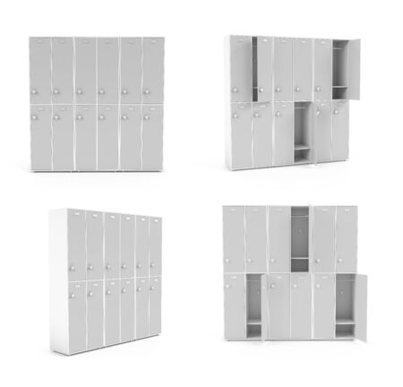 White lockers for schoool or gym. Set of closed and open sections. 3d rendering illustration isolated on white background Zdjęcie Seryjne