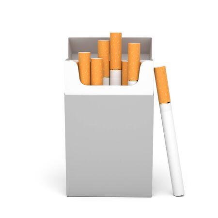 Blank pack of cigarettes. 3d rendering illustration isolated on white background