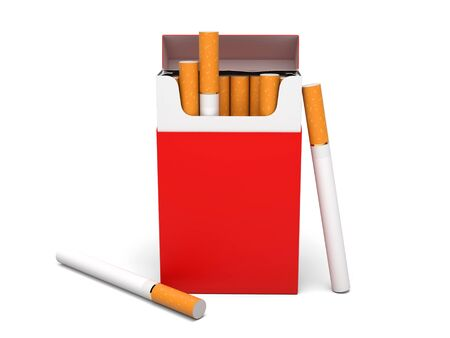 Red pack of cigarettes. 3d rendering illustration isolated on white background Foto de archivo