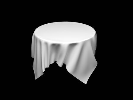 White tablecloth on invisible round table. On black background. 3d rendering illustration Foto de archivo - 150233118