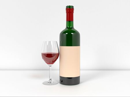 Bottle of wine with glass on white background. 3d rendering illustration. Foto de archivo - 150186610
