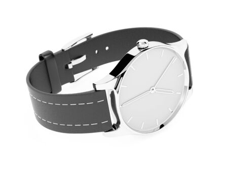 Men watch. Classic model with black band. 3d rendering illustration isolated on white background Foto de archivo - 150191402