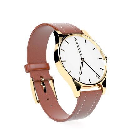 Wrist watch. White dial with golden case and brown leather bracelet. 3d rendering illustration isolated on white background Foto de archivo - 150191698