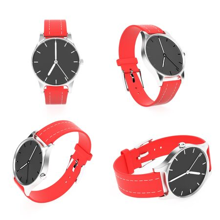 Wrist watch set. Black dial with steel case and red leather bracelet. 3d rendering illustration isolated on white background
