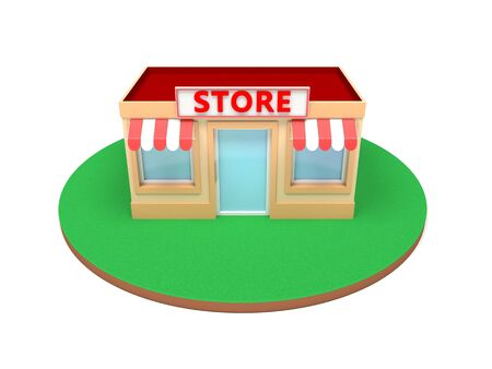 Store building. Colored 3d illustration isolated on white background Foto de archivo - 150191160