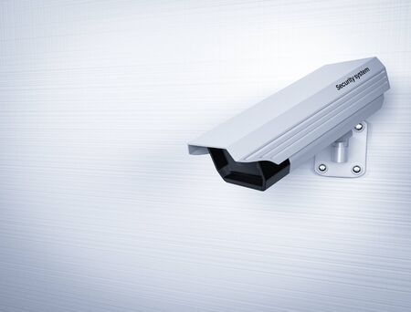 CCTV security camera on white wall. 3d rendering illustration.
