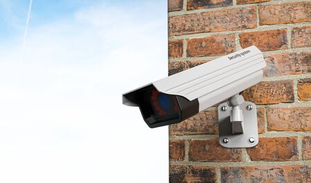 CCTV camera on the building's wall. With blue sky. 3d rendering illustration Foto de archivo - 150191150