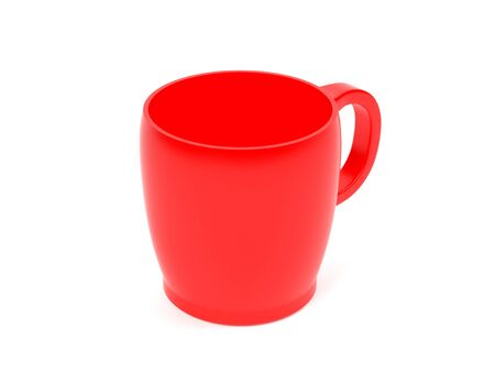 Red cup. 3d rendering illustration isolated on white background Foto de archivo - 150191666
