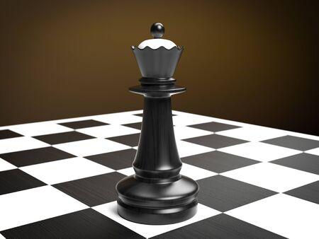 Queen. Black chess piece on chessboard. 3d rendering illustration Zdjęcie Seryjne