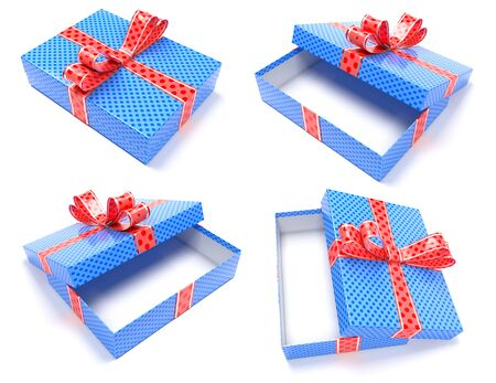 Gift boxes. Blue box with red bow. 3d rendering illustration isolated on white background Foto de archivo - 150520812