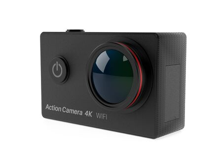 Action camera. 3d rendering illustration isolated on white background Foto de archivo - 150520815