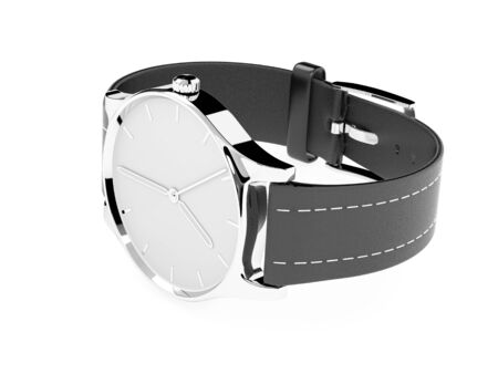 Watch. Classic model with black band. 3d rendering illustration isolated on white background Foto de archivo - 150520848