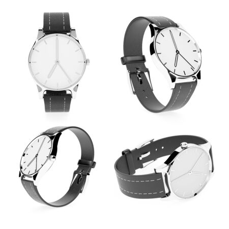 Watch set. Classic model with black band. 3d rendering illustration isolated on white background Foto de archivo - 150520862