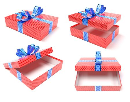 Red gift box with blue ribbon bow. Set. 3d render illustration isolated on white background Zdjęcie Seryjne