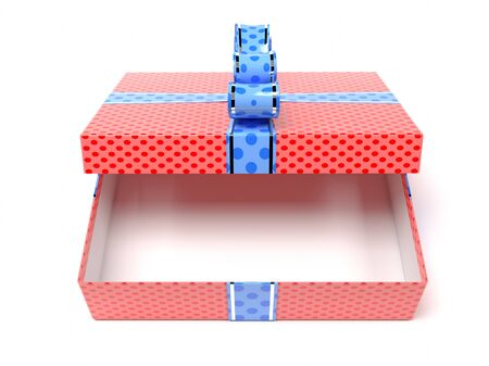 Red gift box with blue duct tape. 3d rendering illustration isolated on white background Foto de archivo - 150520885