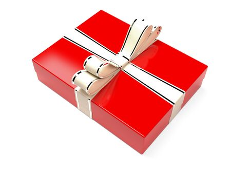 Christmas box. Red gift box decorated with shiny silver ribbon. 3d rendering illustration isolated on white background Zdjęcie Seryjne