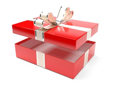 Christmas box. Gift box decorated with shiny silver ribbon. 3d rendering illustration isolated on white background Foto de archivo - 150520909