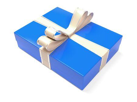 Christmas box. Blue gift box decorated with shiny silver ribbon. 3d rendering illustration isolated on white background