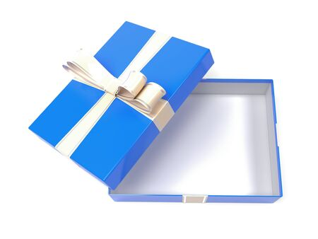 Gift box. Blue empty box with a bow. 3d rendering illustration isolated on white background Foto de archivo - 150520964