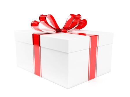 Gift box decorated with shiny red ribbon. 3d rendering illustration isolated on white background Foto de archivo - 150521000