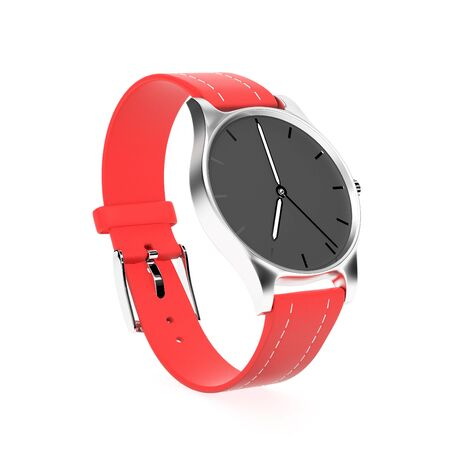 Wrist watch. Black dial with golden case and red leather bracelet. 3d rendering illustration isolated on white background