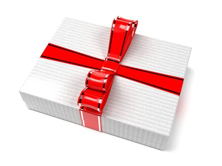 Gift box decorated with shiny red ribbon. 3d rendering illustration isolated on white background Foto de archivo - 150521033