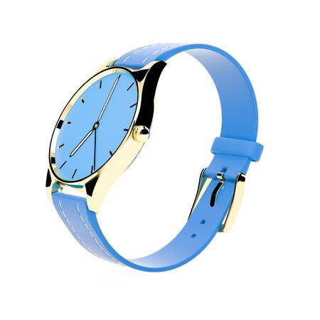 Wrist watch. Blue dial with golden case and blue leather bracelet. 3d rendering illustration isolated on white background Foto de archivo - 150521065