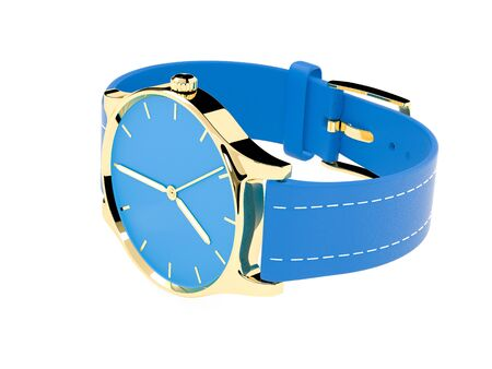 Wrist watch. Blue dial with golden case and blue leather bracelet. 3d rendering illustration isolated on white background