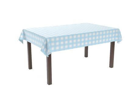 Table with blue tablecloth. 3d rendering illustration isolated on white background Stock Photo