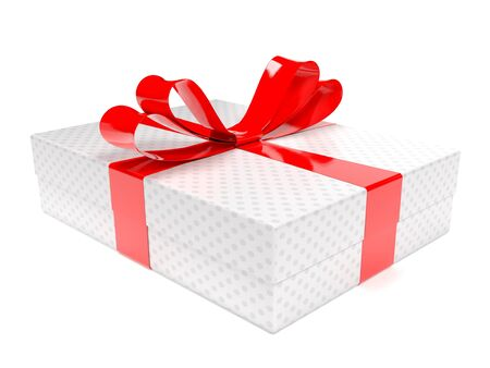 Gift box decorated with shiny red ribbon. 3d rendering illustration isolated on white background Stock Photo
