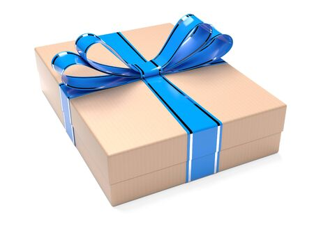 Gift box decorated with blue ribbon. Brown carton. 3d rendering illustration isolated on white background Stock Photo