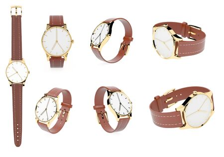 Wrist watch. White dial with golden case and brown leather bracelet. 3d rendering illustration isolated on white background Zdjęcie Seryjne