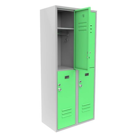 Green metal locker with open door. Two level compartment. 3d rendering illustration isolated on white background. Foto de archivo - 150521244