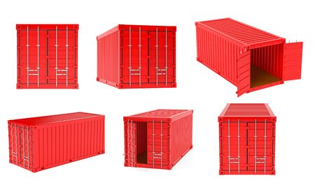 Red shipping freight containers. 3d rendering illustration isolated on white background Zdjęcie Seryjne - 150521302