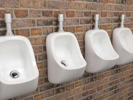 White ceramic urinals. On old red bricks wall. Public toilet. 3d rendering illustration. Stock Photo