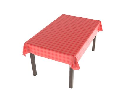 Table with red tablecloth. 3d rendering illustration isolated on white background