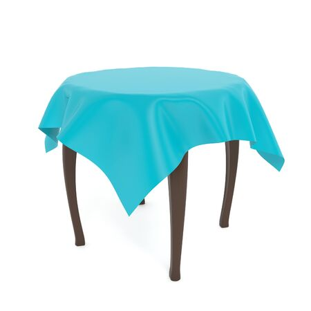 Wooden brown round table with blue tablecloth. 3d rendering illustration isolated on white background.