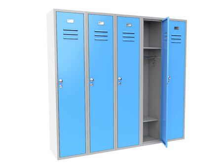 Row of blue metal gym lockers with one open door. 3d rendering illustration isolated on white background Zdjęcie Seryjne
