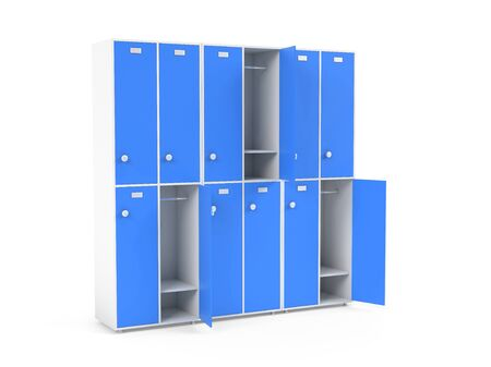 Blue lockers. Two row section of lockers for schoool or gym. 3d rendering illustration isolated on white background Stock Photo