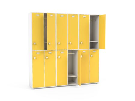 Yellow lockers. Two row section of lockers for schoool or gym. 3d rendering illustration isolated on white background