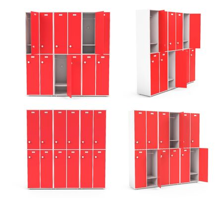 Red lockers for schoool or gym. Set of closed and open sections. 3d rendering illustration isolated on white background