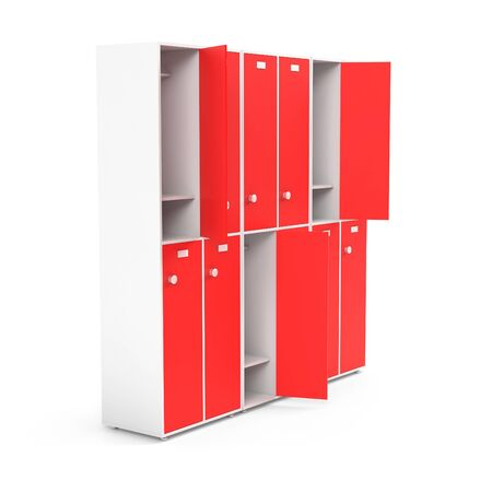 Red lockers. Two row section of lockers for schoool or gym. 3d rendering illustration isolated on white background Stock Photo