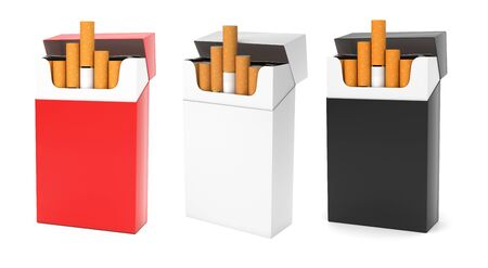 Open packs of cigarettes. Colored set. 3d rendering illustration isolated on white background
